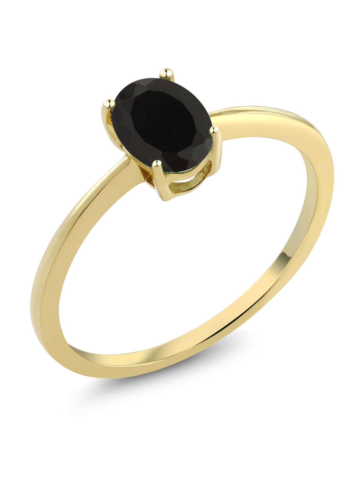 0.80 Ct Oval Black Onyx 10K Yellow Gold Solitaire Engagement Ring