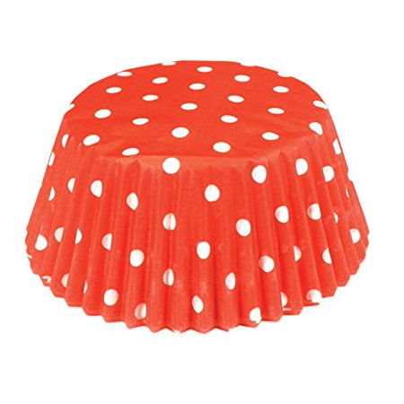 Fox Run Red Polka Dot Paper Mini Party Bake Cups 50 Pack, Cupcakes Muffin Liners - Polka Dots Cupcakes