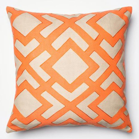 Alexander Home Printed Geometric Beige/ Orange Down Feather or Polyester Filled 22-inch Throw ...