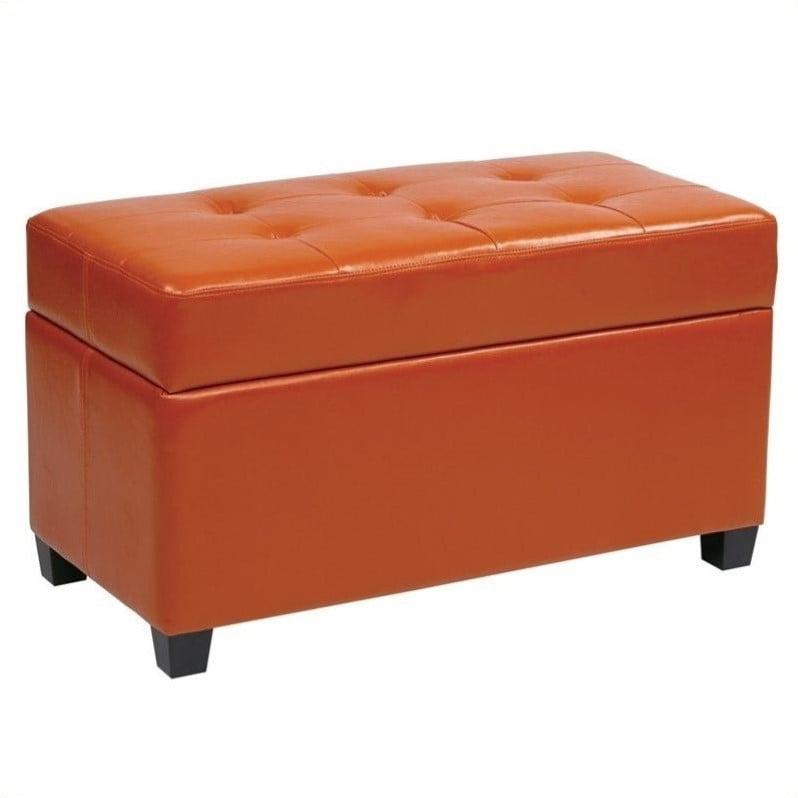 Office Star Metro Vinyl Storage Ottoman in Orange