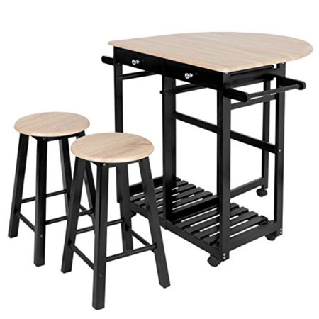 Zenchef 3 Piece Rolling Kitchen Island Trolley Cart Set Breakfast Bar Cart Drop Leaf Folding Table W 2 Stools And 2 Drawers Enj