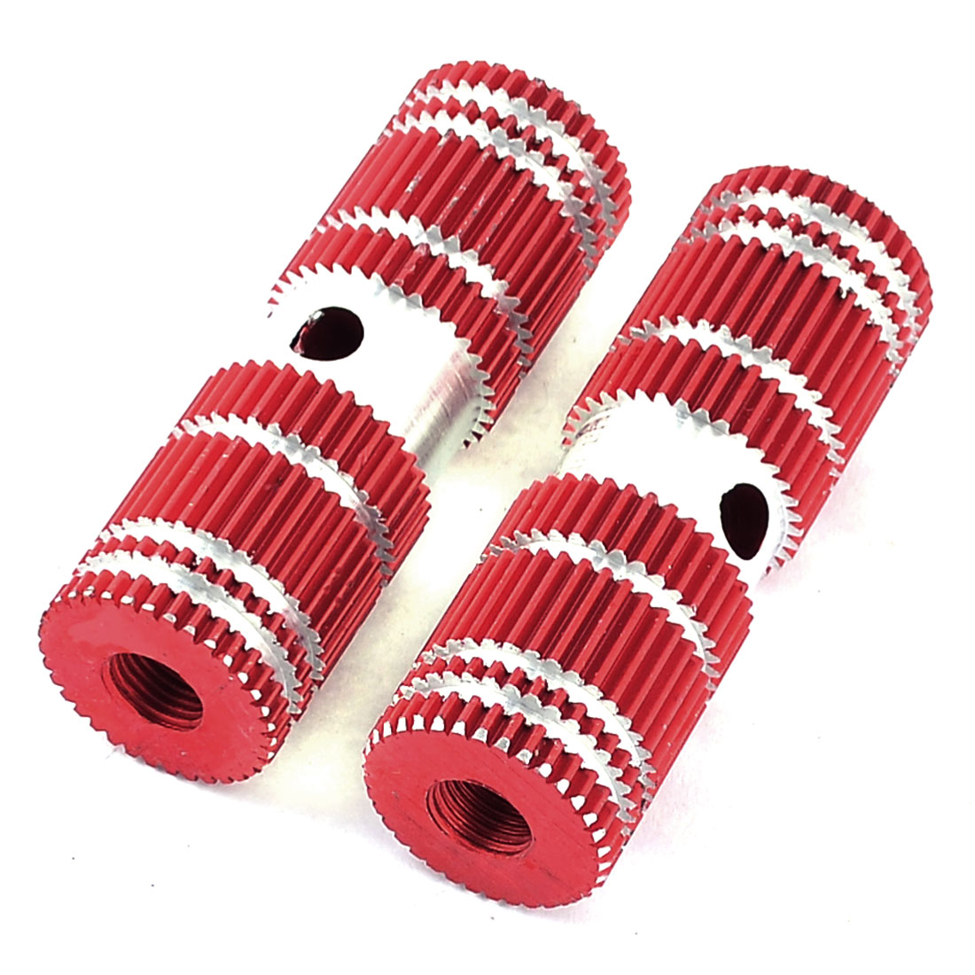 2 Pcs Red Cylindrical Aluminum Bicycle Bike Rear Axle Foot Pegs Pedal