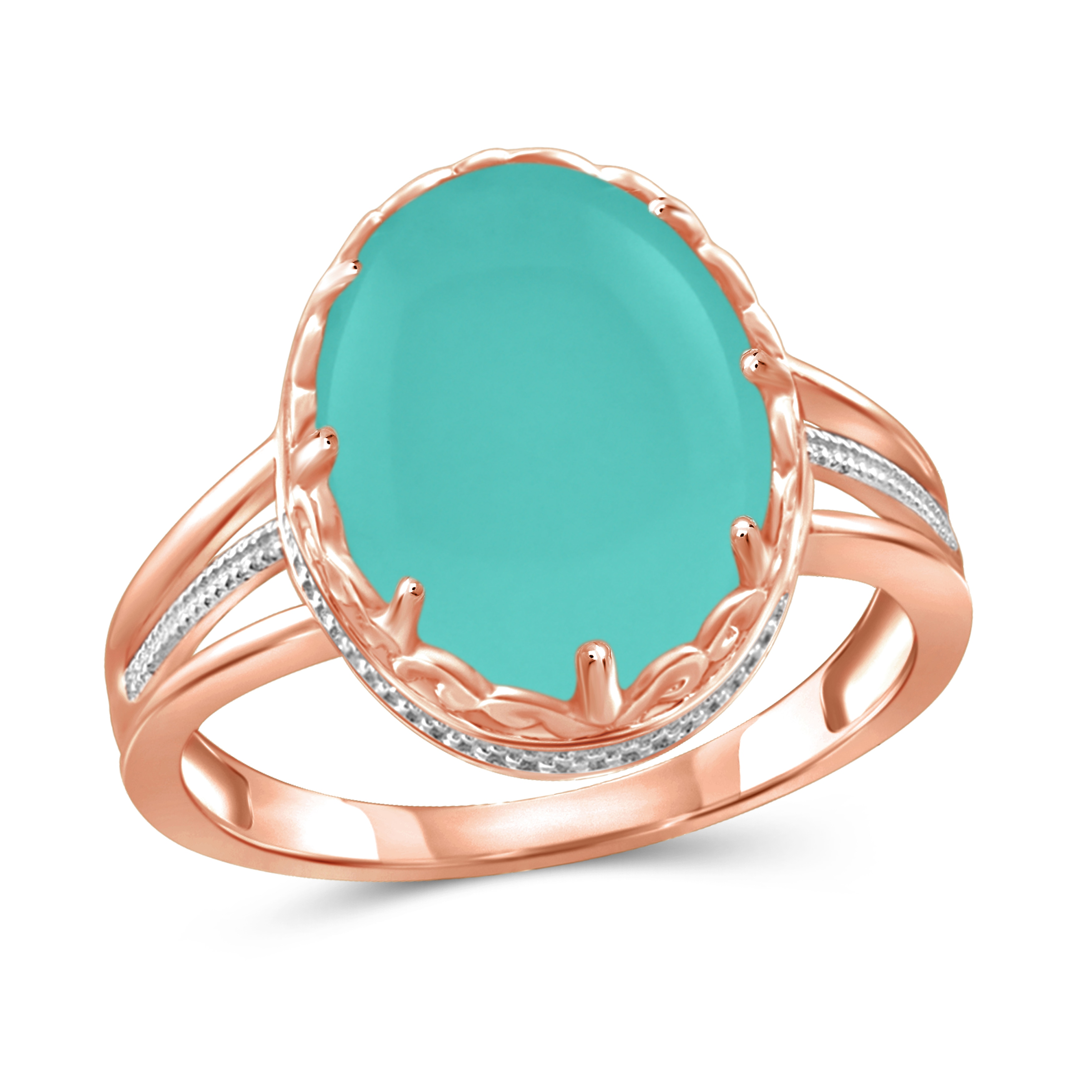 JewelonFire Sterling Silver Genuine Chalcedony Gemstone Ring by Overstock