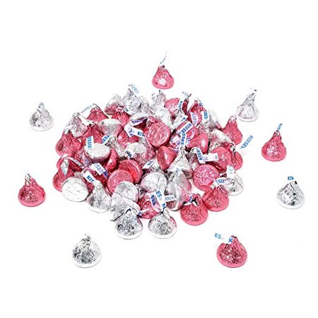 Pink And Silver Hershey Kisses (Hershey's Kisses Milk Chocolate, Silver and Pink Foil, 4 pounds)