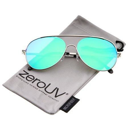 zeroUV - Classic Brow Bar Semi-Rimless Colored Mirror Lens Aviator Sunglasses 57mm - (Brow Bar Sunglasses)