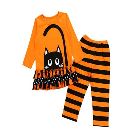 Mosunx Toddler Baby Girls Cat Dresses Tops Striped Pants Halloween Costume Outfits Set