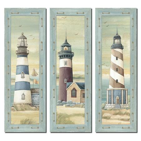 Set of 3 Lighthouse Art Prints Beach Country Coastal Décor- Three 6x18 Poster Prints