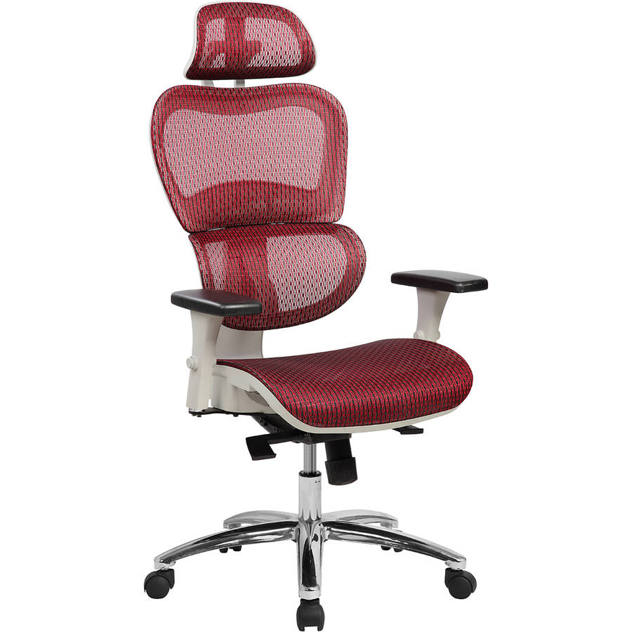 Techni Mobili Deluxe High Back Ergonomic Mesh Executive Office Chair with Neck Support, Red