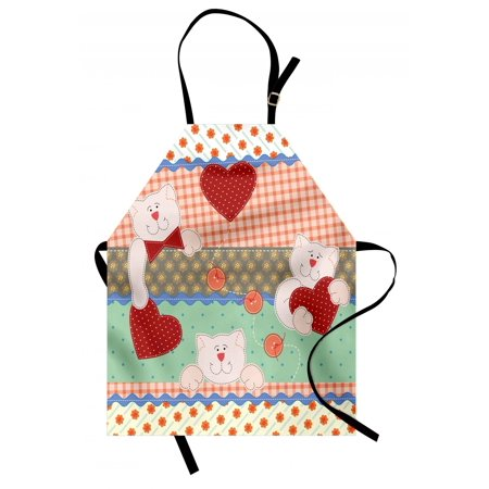 Shabby Chic Apron Funny Teddy Bears with Hearts in Patchwork Style Cute Kids Theme Design Print, Unisex Kitchen Bib Apron with Adjustable Neck for Cooking Baking Gardening, Multicolor, by
