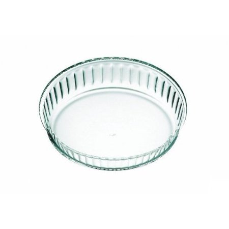 Simax Clear Glass Fluted Cake Dish, Deep | Heat, Cold and Shock Proof, Made in Europe, 10.25 - 18x10 Deep Dish