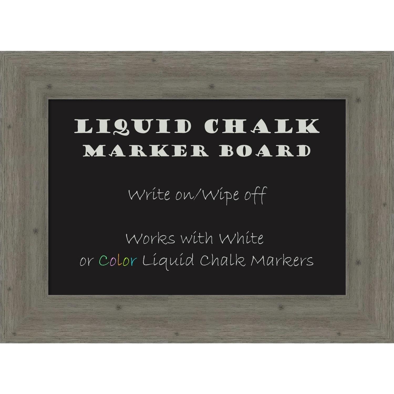 Amanti Art Framed Liquid Chalk Marker Board, Fencepost Grey
