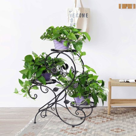 HLC 3 Tier Metal Plant Stand Garden Patio Flower Pot Rack Modern