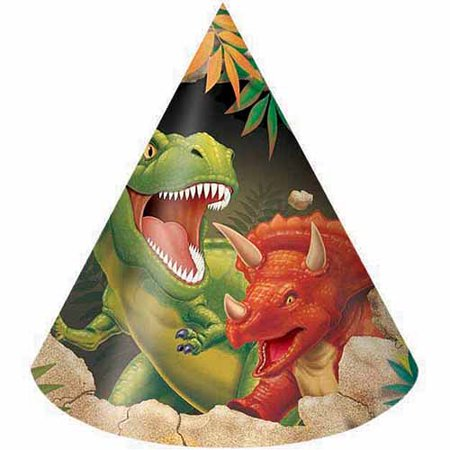 Creative Converting Dino Blast Party Hats, 8-Pack