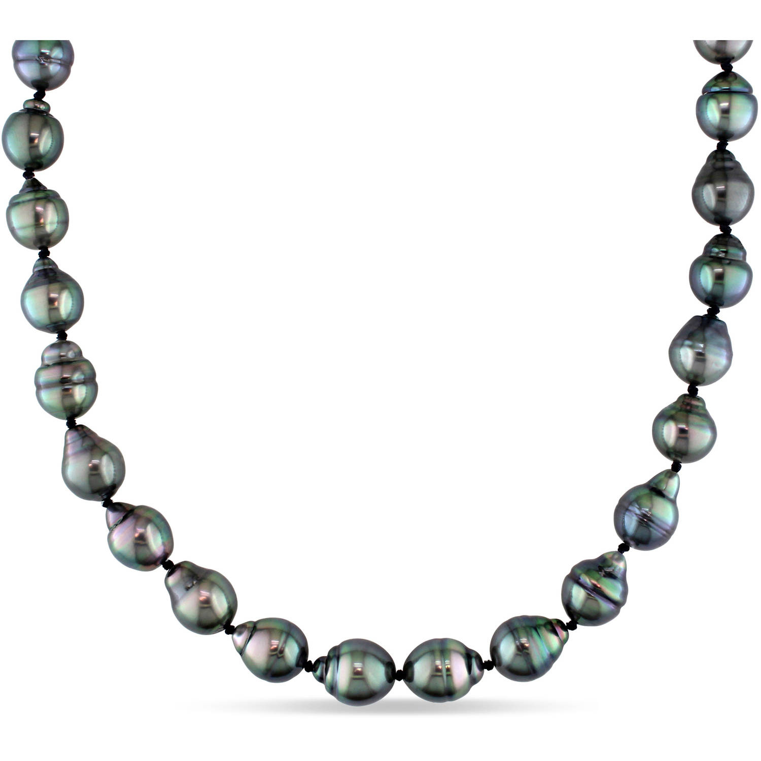 8-9.5mm Black Baroque Tahitian Pearl 14kt White Gold Strand Necklace, 18