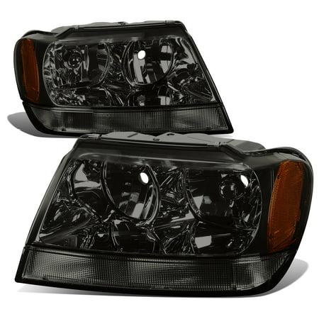 02 Jeep Liberty Headlight (For 1999 to 2004 Jeep Grand Cherokee Smoked Housing Amber Corner Headlight Headlamps WJ 00 01 02 03 Left+Right)