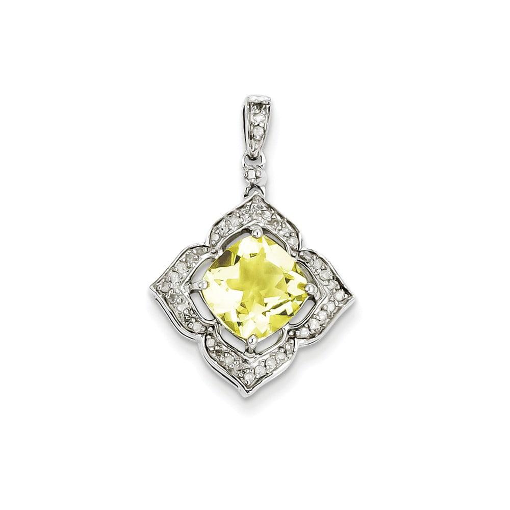 Sterling Silver Diamond & Lemon Quartz Flower Pendant. Carat Wt- 1.76ct