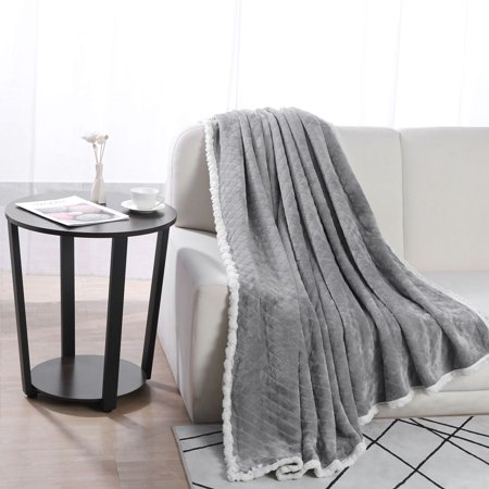 Solid Embossed Warm Plush Flannel Fleece Throw Bed Blankets ()