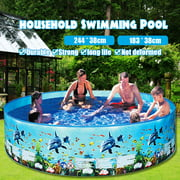 "HALLOLURE 6' X 15""  Foldable Swimming Pool, Bathing Pool, Family Swimming Pool Snap Set Swimming Pool Kids Paddling Pool for Boys Girls Outdoor Water Fun 15"" (H)"
