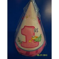 Fun at One Girl Pink Cute Kids First 1st Birthday Party Supplies Favor Cone Hats