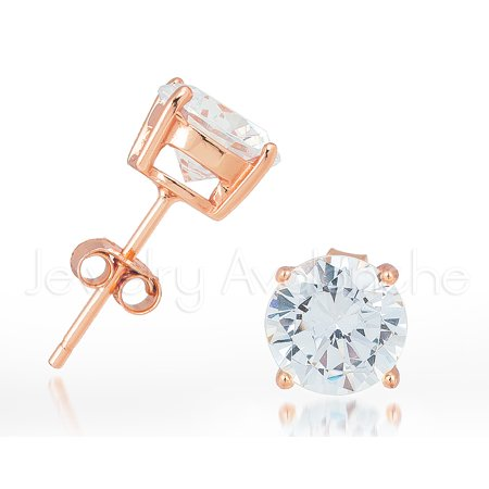 Rose Gold Plated .925 Sterling Silver Stud Earrings - Unisex Solitaire CZ Earrings 3MM