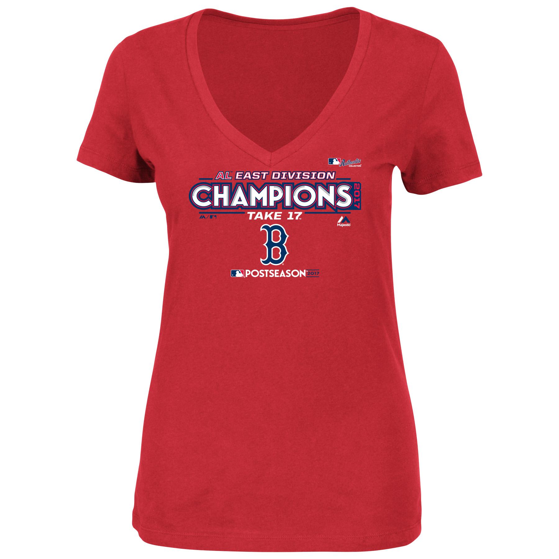 Boston Red Sox Majestic Women's 2017 AL East Division Champions Locker Room V-Neck T-Shirt - Red