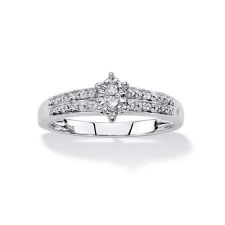 2 Diamond Platinum Engagement Ring (Diamond Accent Marquise-Shaped Engagement Ring in Platinum over Sterling Silver )
