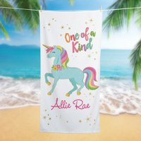 One of a Kind Unicorn Personalized Beach Towel