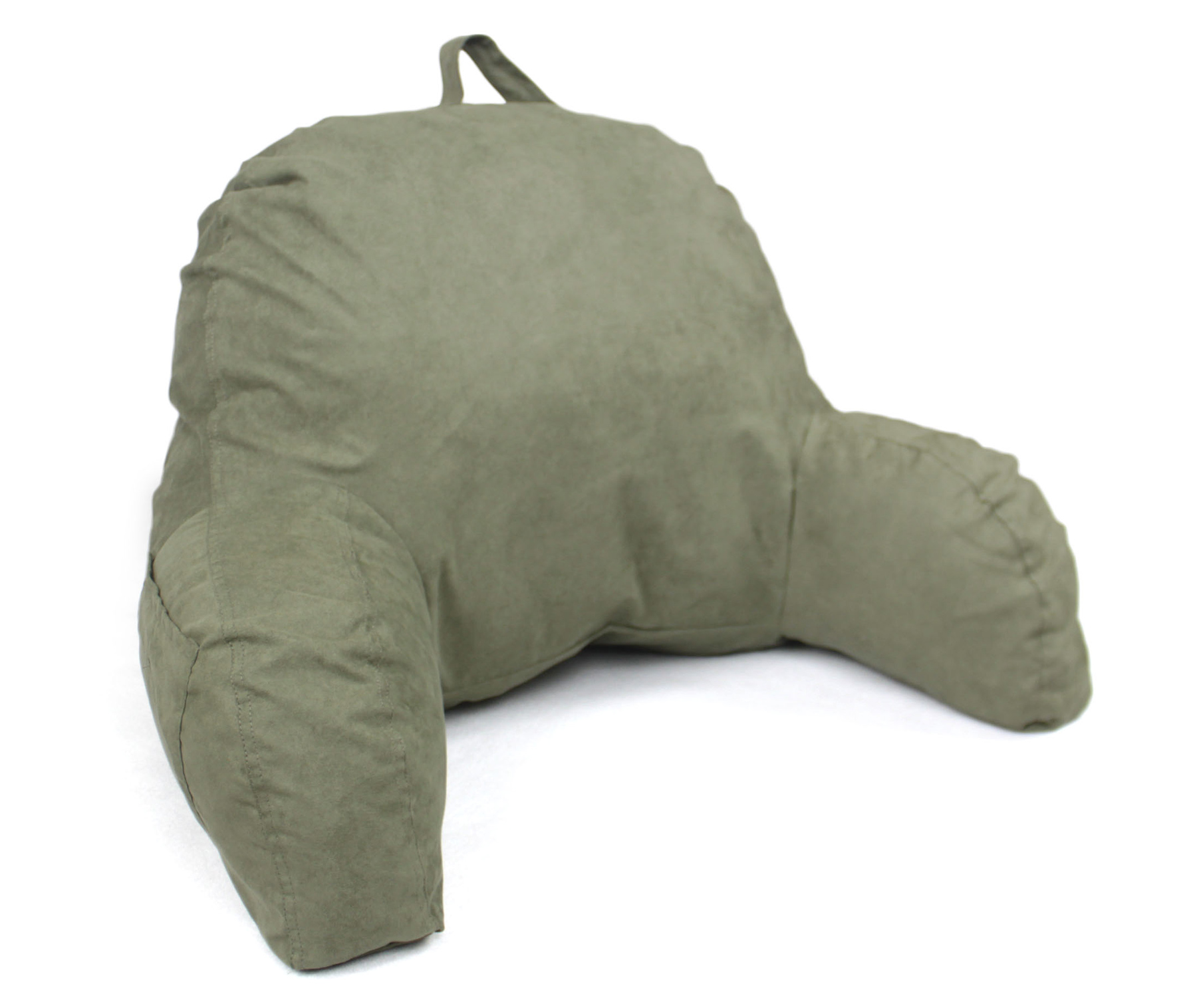 Microsuede Bedrest Pillow Green -Bed Rest Pillows W Arms for Reading in Bed by Living Healthy Products
