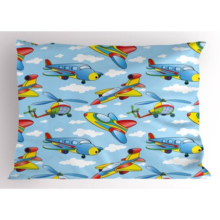 Helicopter Carbon Fiber (Kids Pillow Sham Cartoon Planes and Helicopters in the Air between Clouds Nursery Toy Artwork, Decorative Standard Queen Size Printed Pillowcase, 30 X 20 Inches, Blue and Yellow, by Ambesonne)