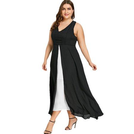 Plus Size Sleeveless Slit Tank Dress Summer Casual Tank Dresses For Women
