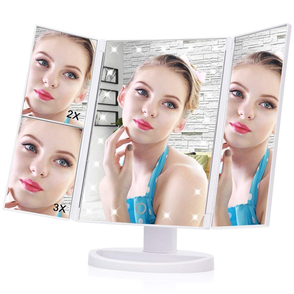 Ejoyous LED Makeup Mirror, 21 Led Lights Trifold Vanity Mirror with Touch Screen,1X 2X 3X Magnification and 180° Adjustable Stand Travel Mirror for Countertop Cosmetic Makeup