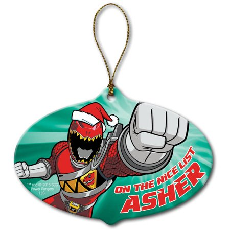 Personalized Power Rangers Dino Charge Red Ranger Christmas Ornament - Dinosaur Ornament