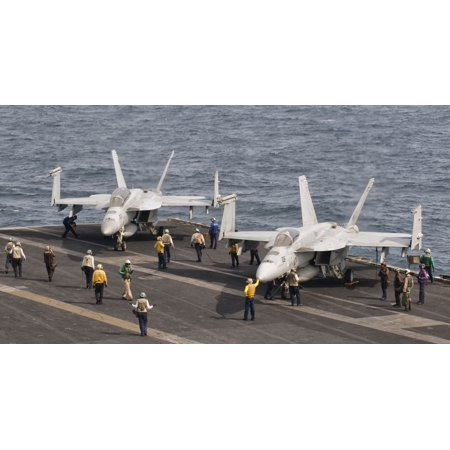 Persian Gulf October 30 2011   An Fa 18F Super Hornet And A Fa 18E Super Hornet Ready For A Mission From The Flight Deck Of Uss George Hw Bush Poster Print