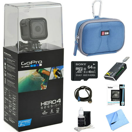Gopro Hero4 Action Camera Ready For Adventure Bundle Includes Gopro Hero 4  64Gb Micro Sdxc Memory Card  Case  Card Reader  Memory Card Wallet  Hdmi  Lens Cleaning Kit And Beach Camera Cloth