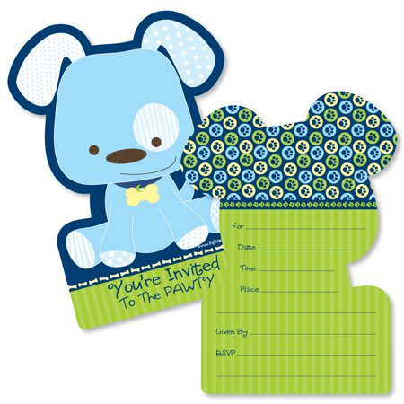 Boy Puppy Dog - Shaped Fill-In Invitations - Baby Shower or Birthday Party Invitation Cards with Envelopes - Set of 12 (Puppy Party Invitations)