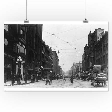 Seattle, Washington - View of First Avenue from Yesler Way (16x24 Giclee  Gallery Print, Wall Decor Travel Poster)