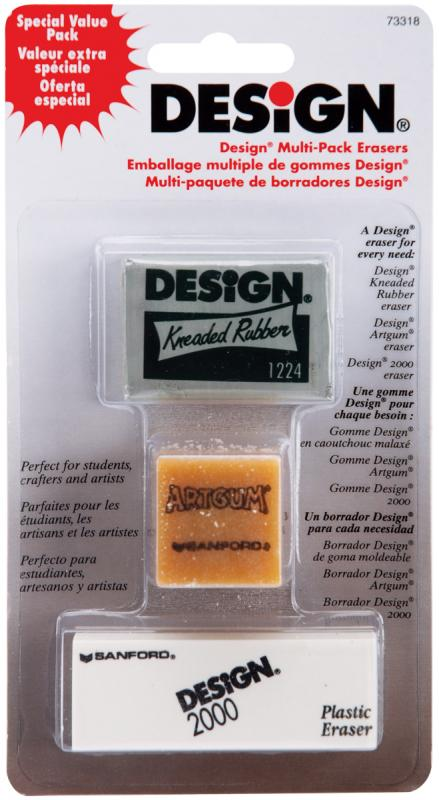 Design Art Erasers 3 pkg- by Sanford