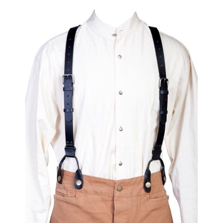 Scully Western Mens Suspenders Leather Y Back Attachment Loops -