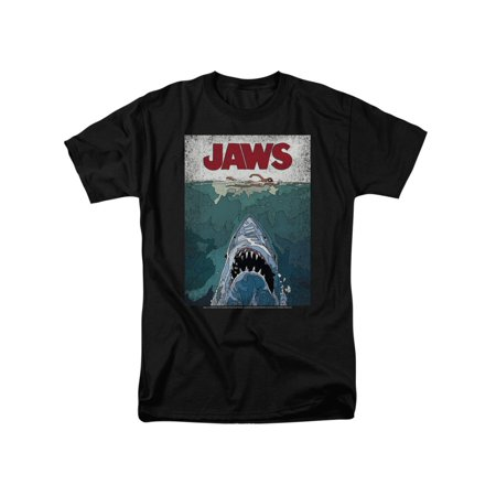 JAWS Classic Shark Thriller Film Line Graphic Poster Adult T-Shirt Tee