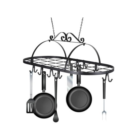 Kitchen Pan Hanger Iron Hanging Pot Holder Storage Utility Cookware Hook - 9 Hook Pot Rack