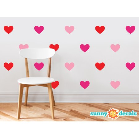 Heart Fabric Wall Decals - Set of 23 Hearts - 20 Color Options-Multi-Color/
