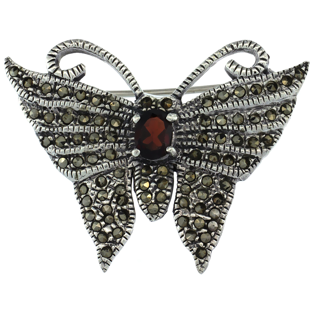 Sterling Silver Marcasite Butterfly Brooch Pin w  Oval Cut Garnet Stone, 1 1 4 inch (32 mm) tall by WorldJewels