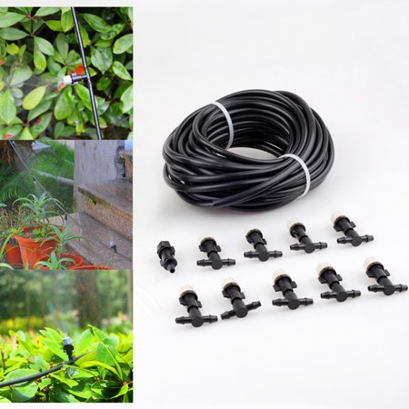 "33' 1/4"" Mist Cooling Kit Irrigation System for Garden Patio Greenhouse, with 10 Plastic Mist Nozzles ()"