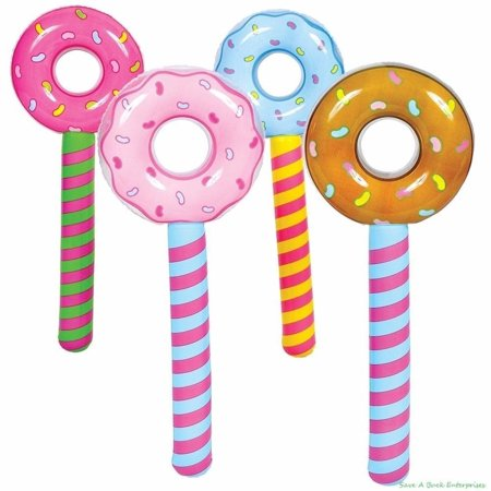 (4) Assorted Donut Stick Inflatable - Pool Party Blow Up Float Decoration Favors, ● Each order is for a set of 4 TOTAL Assorted Inflatable Donuts. These are.., By Unbranded