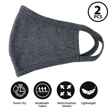 (2 Pack ) Fashion Washable Reusable Soft Double Layers Cotton Face Covering Mask Adults Gray- Made In USA