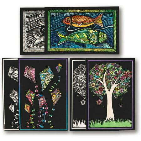 Velvet Art 3 D Posters II, Pack of 30 - Velvet Art Posters To Color
