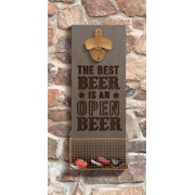 "Wall Beer Bottle Opener ""The Best Beer Is An Open Beer"" 13 x 5 Inches by Amscam"