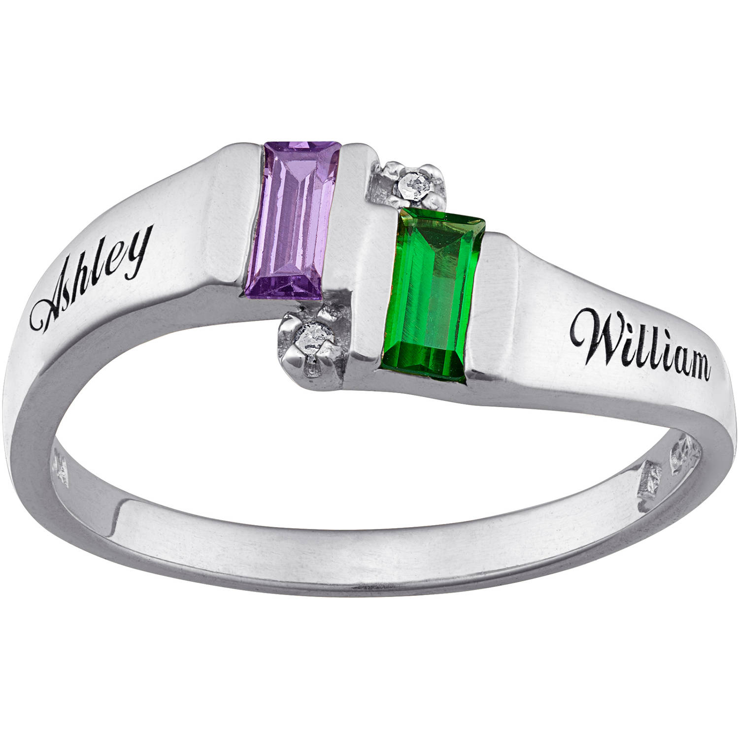 Personalized Sterling Silver Couples Birthstone Band