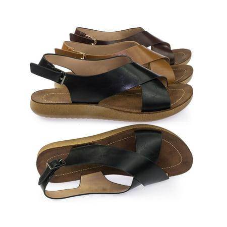 Recent05 by Forever Link, Slingback Lightweight Flexible Molded Footbed Flat Open Toe Sandal ()