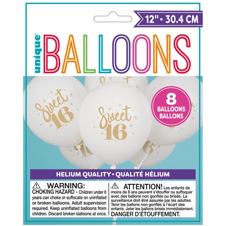 Latex Gold Script Sweet 16 Balloons, White, 12 in,